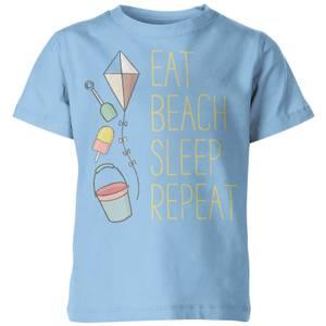 My Little Rascal Eat, Beach, Sleep, Repeat Kids' T-Shirt - Light Blue