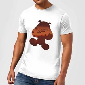 Nintendo Super Mario Goomba Silhouette Men's White T-Shirt