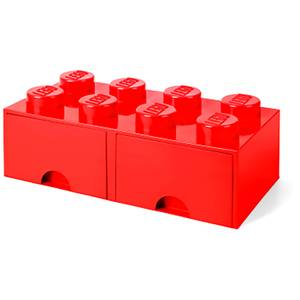 LEGO Storage 8 Knob Brick - 2 Drawers (Bright Red)
