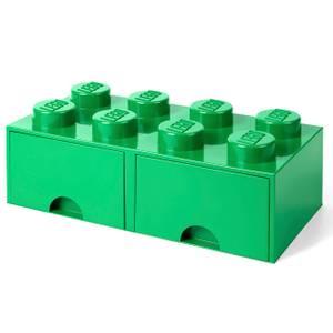 LEGO Storage 8 Knob Brick - 2 Drawers (Dark Green)