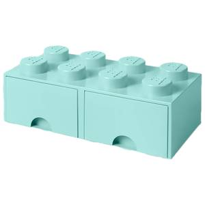LEGO Storage 8 Knob Brick - 2 Drawers (Aqua Light Blue)