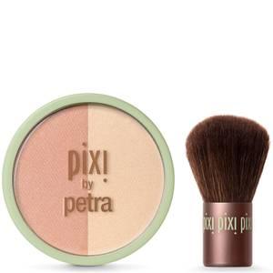 PIXI Beauty Blush Duo + Kabuki Brush - Peach Honey