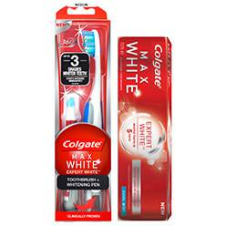 Colgate Max White Expert White Tandkräm, Tandborste + Whiteningpenna
