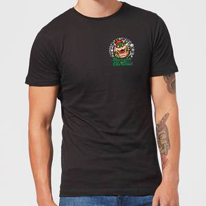 Nintendo Super Mario Bowser Merry Christmas Pocket Wreath Black T-Shirt