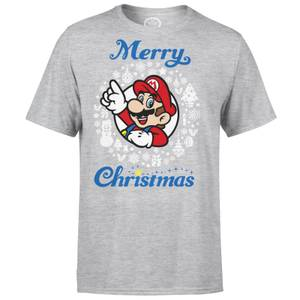 Nintendo Super Mario Mario White Wreath Merry Christmas Grey T-Shirt