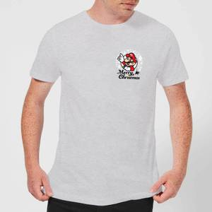 Nintendo Super Mario Mario Merry Christmas Pocket Wreath Grey T-Shirt