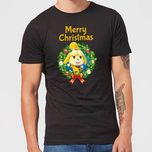 Nintendo Animal Crossing Merry Christmas Kerstkrans Heren T-shirt - Zwart