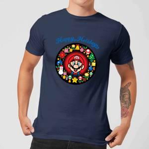 Nintendo Super Mario Mario Happy Holidays Navy T-Shirt
