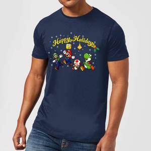 Nintendo Super Mario Good Guys Happy Holidays Navy T-Shirt