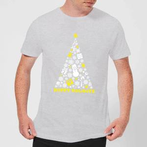Nintendo White Christmas Happy Holidays Grey T-Shirt