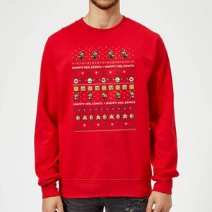 Nintendo Super Mario Happy Holidays The Good Guys Red Christmas Sweatshirt