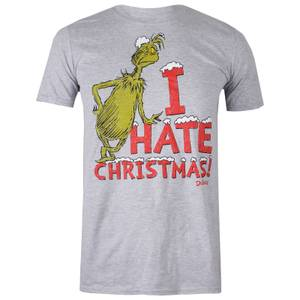 The Grinch Men's Christmas Vintage Hate T-Shirt - Grey Marl