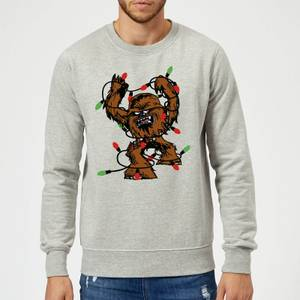 Star Wars Tangled Fairy Lights Chewbacca Grey Christmas Sweatshirt