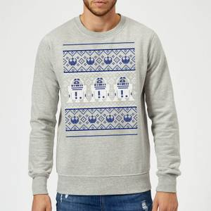 Star Wars R2D2 Christmas Knit Grey Christmas Sweater