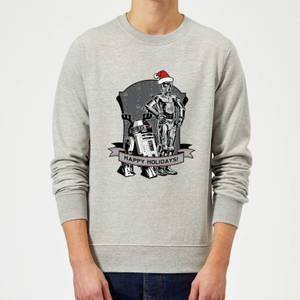 Star Wars Happy Holidays Droids Grey Christmas Sweater
