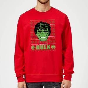 Marvel Comics The Incredible Hulk Retro Face Red Christmas Sweatshirt