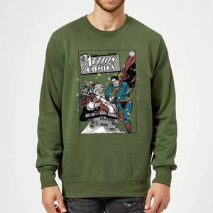 DC Comics Originals Superman Action Comics Green Christmas Sweater