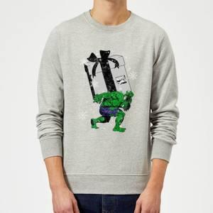 Marvel Comics The Incredible Hulk Christmas Present Grey Christmas Sweatshirt