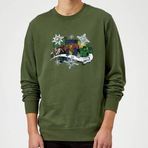 Marvel Comics Thor Ironman Hulk Snowflake Green Christmas Sweater
