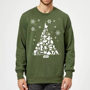 Star Wars Character Christmas Tree Green Christmas Sweater