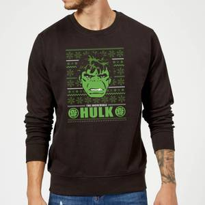 Marvel Comics The Incredible Hulk Retro Face Black Christmas Sweater