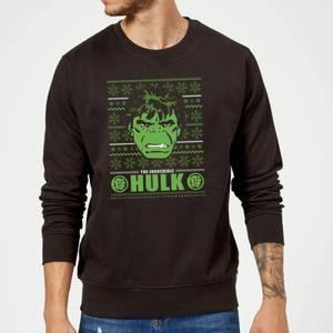 Marvel Comics The Incredible Hulk Retro Face Black Christmas Sweatshirt