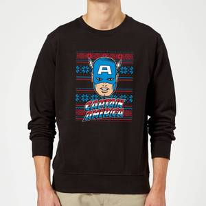 Marvel Comics Captain America Christmas Knit Black Christmas Sweater