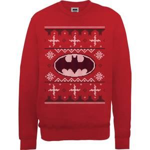 DC Batman Christmas Knit Logo Red Christmas Sweater