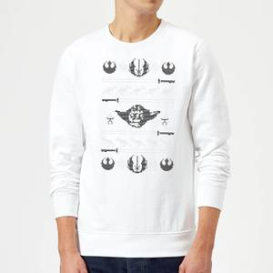 Star Wars Yoda Sabre Knit White Christmas Sweatshirt