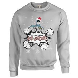 DC Comics Originals Batman Be Good Or Kaboom Grey Christmas Sweater