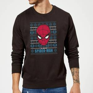 Marvel Comics The Amazing Spider-Man Face Black Christmas Sweater