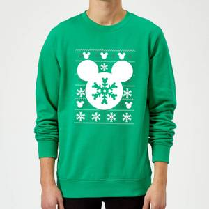 Disney Mickey Mouse Christmas Snowflake Silhouette Green Christmas Sweater