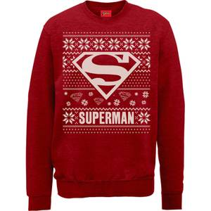 DC Superman Christmas Knit Logo Red Christmas Sweater