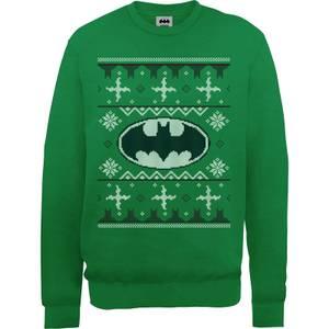 DC Batman Christmas Knit Logo Green Christmas Sweater