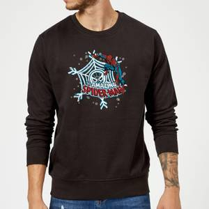 Marvel Comics The Amazing Spider-Man Snowflake Web Black Christmas Sweater