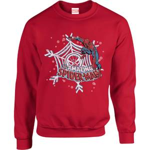 Marvel Comics The Amazing Spider-Man Snowflake Web Red Christmas Sweater