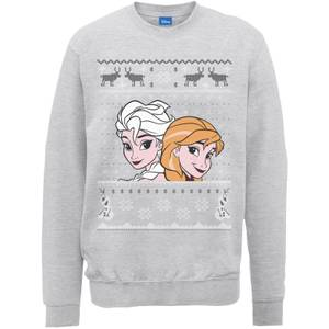 Disney Frozen Christmas Elsa And Anna Grey Christmas Sweatshirt