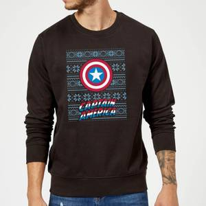 Marvel Comics Captain America Caps Shield Black Christmas Sweater