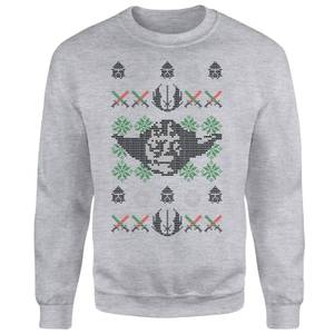 Star Wars Yoda Face Knit Grey Christmas Sweatshirt
