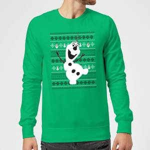 Disney Frozen Christmas Olaf Dancing Green Christmas Sweater