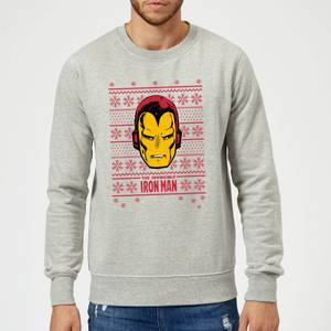 Marvel Comics The Invincible Ironman Face Grey Christmas Sweater
