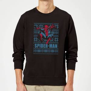 Marvel Comics Spider-Man Leap Knit Black Christmas Sweater