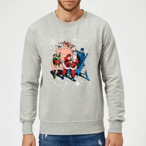 DC Comics Originals Batman And Robin Santa Claus Grey Christmas Sweater