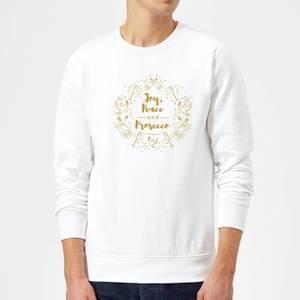 Joy, Peace And Prosecco Sweatshirt - White