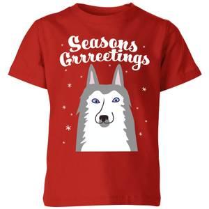 Seasons Grrreetings Kids' T-Shirt - Red