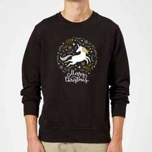 Unicorn Christmas Sweatshirt - Schwarz