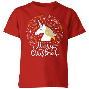 Unicorn Christmas Kids' T-Shirt - Red