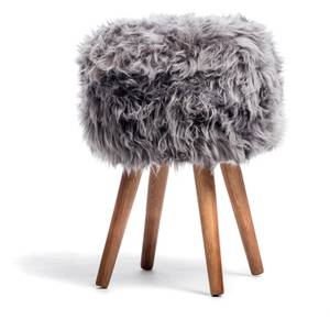 Royal Dream Grey Sheepskin Stool
