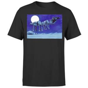Star Wars Christmas ATAT Darth Vader Sleigh Black T-Shirt