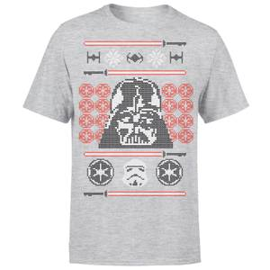 Star Wars Weihnachten Darth Vader Face Sabre T-Shirt - Grau